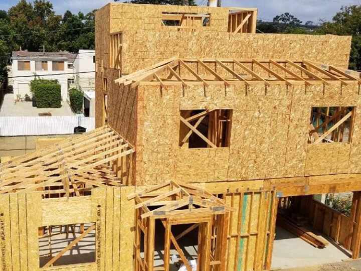 Framework, sheeting, and roofing by Bernal Builders near Pacific Beach